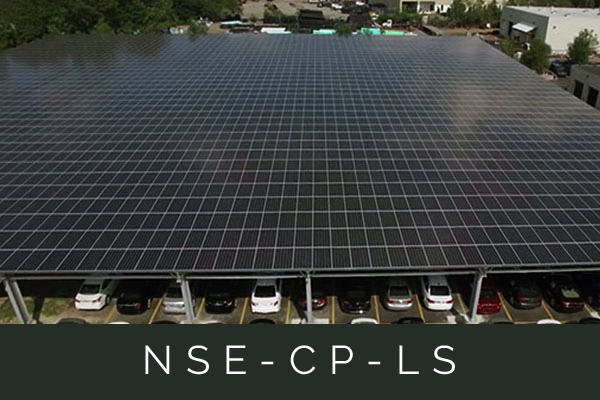 The long spanning design is ideal to maximize PV coverage in the drive aisles between the parking rows.